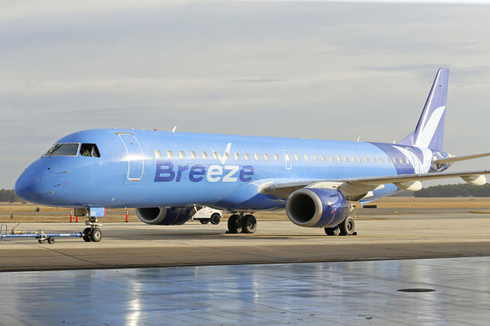 This photo provided by CeanOrrett shows a Breeze aircraft. Two new U.S. airlines are planning on starting service this spring, tapping into the travel recovery that is picking up speed. Breeze Airways is next up, the latest creation of David Neeleman, who founded JetBlue Airways more than 20 years ago. (CeanOrrett via AP)