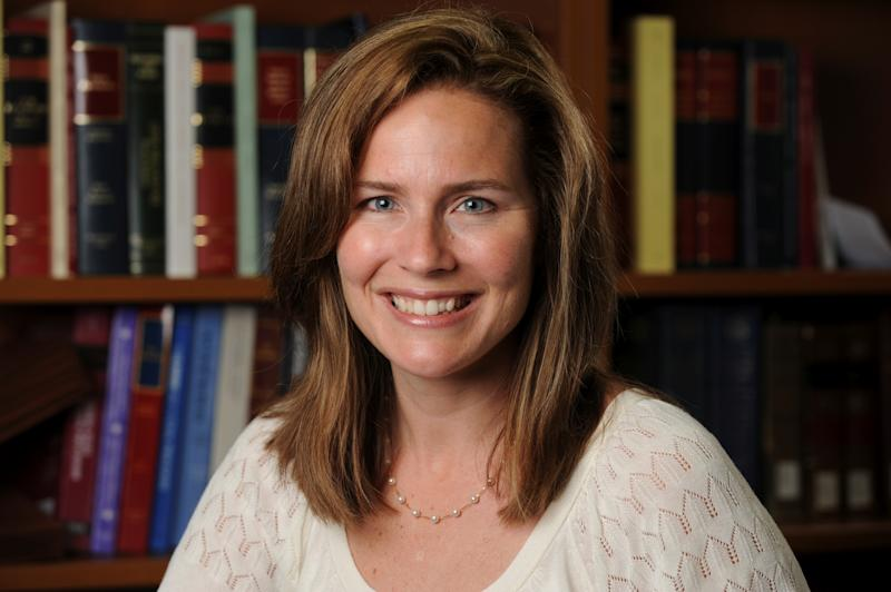 U.S. Court of Appeals for the Seventh Circuit Judge Amy Coney Barrett, a law professor at Notre Dame University, poses in an undated photograph obtained from Notre Dame University September 19, 2020. (Matt Cashore/Notre Dame University/Handout via Reuters)