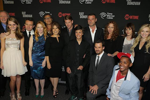 The cast of Ray Donovan with Executive Producer Ann Biderman at the Showtime premiere of the new drama series Ray Donovan presented by Time Warner Cable, on Tuesday, June, 25, 2013 in Los Angeles. (Photo by Eric Charbonneau/Invision for Showtime/AP Images)