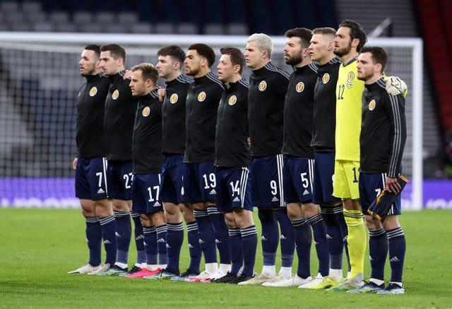 Scotland line up for the pre-match anthems