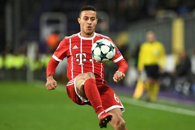 Bayern Munich's Thiago Alcantara controls the ball during a UEFA Champions League match at Constant Vanden Stock Stadium in Brussels, in November 2017
