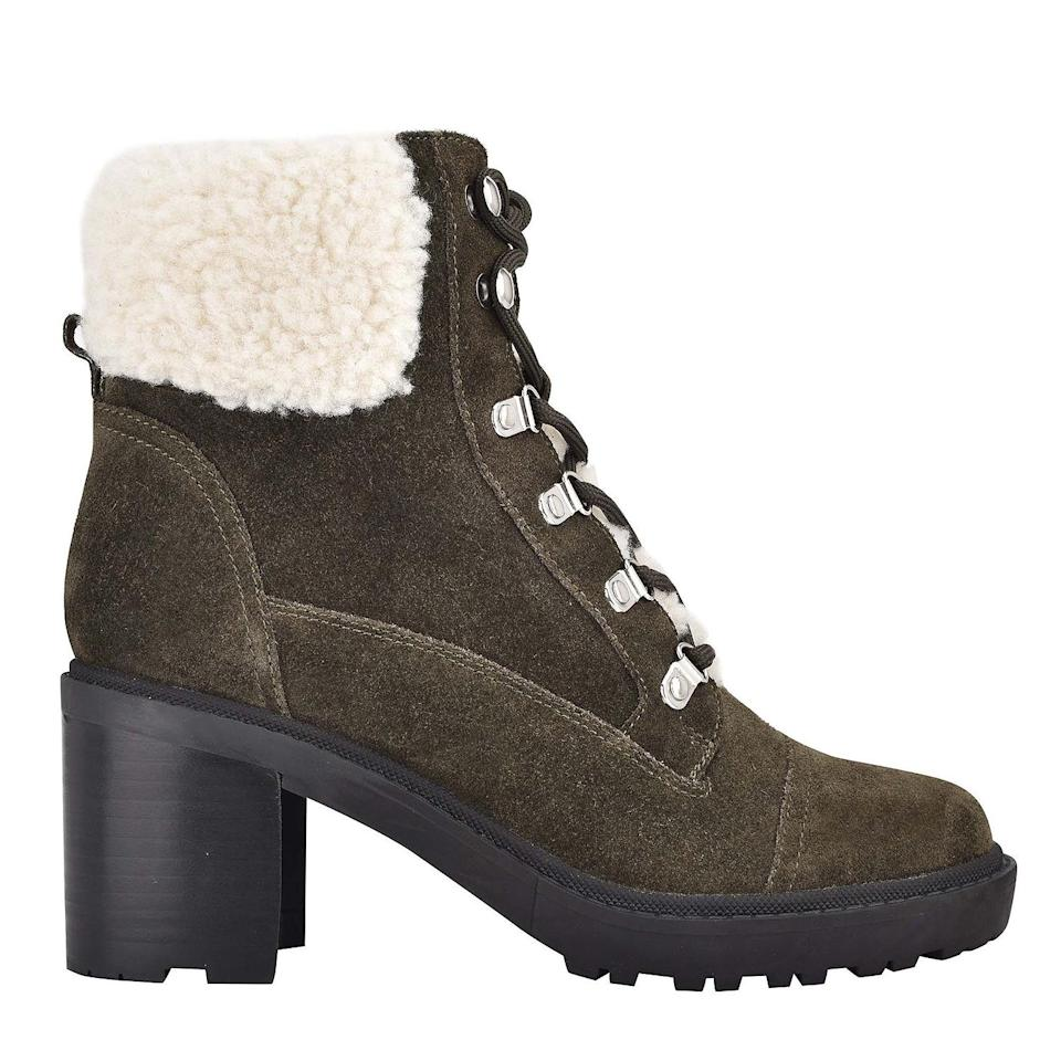 """<p><strong>Buy It!</strong> <a href=""""https://marcfisherfootwear.com/collections/boots-booties/products/lakynn-lace-up-hiker-bootie-in-green-suede"""" rel=""""nofollow noopener"""" target=""""_blank"""" data-ylk=""""slk:&quot;Lakynn&quot; Boot, $149; marcfisherfootwear.com"""" class=""""link rapid-noclick-resp"""">""""Lakynn"""" Boot, $149; marcfisherfootwear.com</a></p>"""