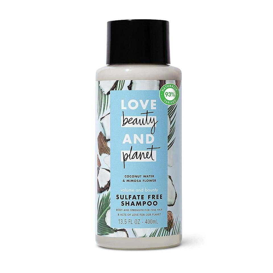 "Coconut water and mimosa flower work together to provide volume and gently cleanse your hair. If your strands need a body boost, this sulfate-free shampoo will get the job done. <br /><br /><strong>Promising review:</strong> ""I would give <strong>six stars if it were possible.</strong> I have fine hair. <strong>This shampoo leaves my hair light and clean. It doesn't dry it out, and it doesn't weigh it down.</strong> It smells great, a little like coconut with a hint of citrus, not cloying or perfume-y. And surprisingly, <strong>my wet hair is a bit easier to run the comb through than with my other shampoos.</strong> For years I've used a terrific salon product, quite expensive, but with COVID it became unavailable so I figured I'd try something new. Like my salon shampoo, this one is concentrated so you don't need to use much. Even the container is well made with a sturdy cap and a chunky container that is less likely to topple from a shower caddy. And I appreciate the environmentally friendly features. Most of all, though, I'm really happy with what it does to my hair."" — <a href=""https://amzn.to/3uTOM2U"" target=""_blank"" rel=""nofollow noopener noreferrer"" data-skimlinks-tracking=""5735076"" data-vars-affiliate=""Amazon"" data-vars-href=""https://www.amazon.com/gp/customer-reviews/R21DXQ66HKZYFC?tag=bfnusrat-20&ascsubtag=5735076%2C12%2C27%2Cmobile_web%2C0%2C0%2C15806818"" data-vars-keywords=""cleaning"" data-vars-link-id=""15806818"" data-vars-price="""" data-vars-product-id=""16766185"" data-vars-retailers=""Amazon"">Sam</a><br /><br /><strong>Get it from Amazon for <a href=""https://amzn.to/3ghl97O"" target=""_blank"" rel=""nofollow noopener noreferrer"" data-skimlinks-tracking=""5735076"" data-vars-affiliate=""Amazon"" data-vars-asin=""B07GSQR22B"" data-vars-href=""https://www.amazon.com/dp/B07GSQR22B?tag=bfnusrat-20&ascsubtag=5735076%2C12%2C27%2Cmobile_web%2C0%2C0%2C15806852"" data-vars-keywords=""cleaning"" data-vars-link-id=""15806852"" data-vars-price="""" data-vars-product-id=""16755130"" data-vars-product-img=""https://m.media-amazon.com/images/I/41RtW5Il1hL.jpg"" data-vars-product-title=""Love Beauty And Planet Volume and Bounty Sulfate-free Thickening Shampoo For Thin and Fine Hair Care Coconut Water & Mimosa Flower Silicone-free, Vegan 13.5 oz"" data-vars-retailers=""Amazon"">$6.28</a>.</strong>"