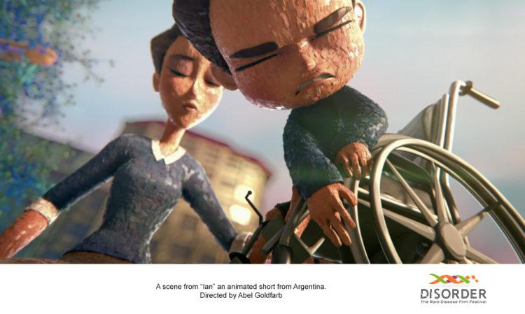 an image from one of the rare disease films, animated. a boy in a wheelchair in pain.