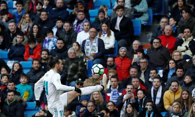 Soccer Football - La Liga Santander - Real Madrid vs Deportivo Alaves - Santiago Bernabeu, Madrid, Spain - February 24, 2018 Real Madrid's Gareth Bale in action REUTERS/Juan Medina