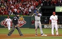 ST LOUIS, MO - OCTOBER 20: Elvis Andrus #1 of the Texas Rangers celebrates after hitting a single and advancing to second base on the throw in the ninth inning during Game Two of the MLB World Series against the St. Louis Cardinals at Busch Stadium on October 20, 2011 in St Louis, Missouri. (Photo by Jamie Squire/Getty Images)