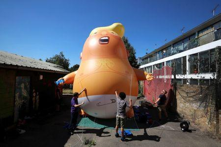 The helium filled Donald Trump blimp will be deployed during The President of the United States' upcoming visit, (REUTERS/Simon Dawson/File Photo)