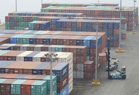 Containers are seen inside the Manila South Harbor, metro Manila