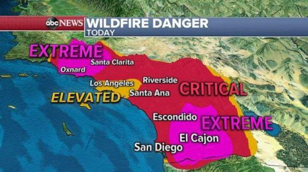 PHOTO: The National Weather Service has posted a rare extreme fire danger warning for Ventura, Los Angeles and the San Diego county mountains. (ABC News)