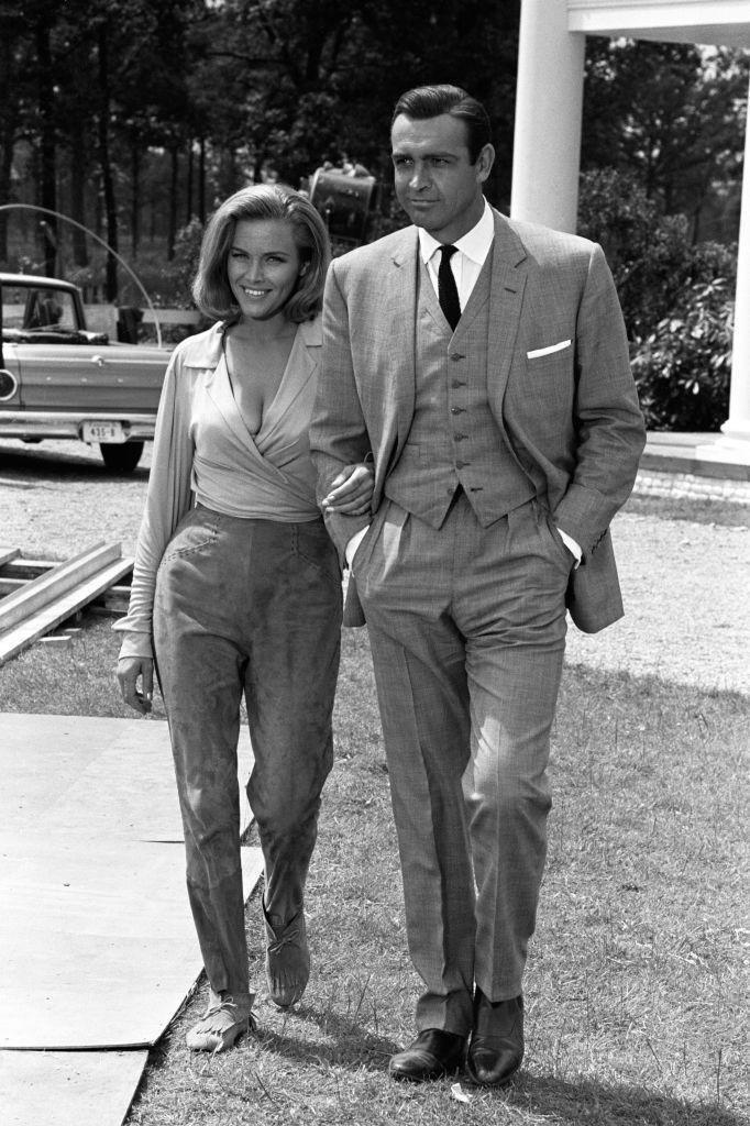 <p>Honor Blackman and Sean Connery on set during filming for 'Goldfinger', 1964.</p>