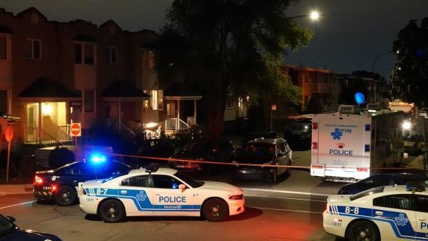 Montreal police were called to J. T. Rathwell Street, near 30th Avenue, around 7 p.m. where they found the body of a 27-year-old man. (Stéphane Grégoire/Radio-Canada - image credit)