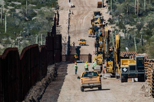 PHOTO: Contractors inspect the work site following detonations on Monument Hill to clear space for a new border wall in Lukeville, Arizona, U.S., on Wednesday, Feb. 26, 2020. (Caitlin O'Hara/Bloomberg via Getty Images)