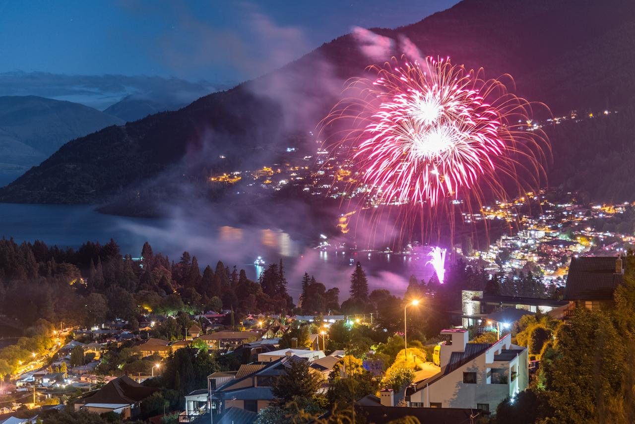 """<a href=""""https://www.cntraveler.com/galleries/2015-01-22/queenstown-new-zealand-the-adventure-capital-of-the-world-extreme-sports?mbid=synd_yahoo_rss"""" target=""""_blank"""">Queenstown</a> is one of the best places to go for New Year's Eve—like <a href=""""https://www.cntraveler.com/destinations/sydney?mbid=synd_yahoo_rss"""" target=""""_blank"""">Sydney</a>, the city hosts another one of the world's """"first"""" NYE celebrations. And though its fireworks aren't quite the eyebrow-singeing display in Sydney, this party city knows how to have a good time. There are some 55 bars to keep up with the demand of locals and <a href=""""https://www.cntraveler.com/galleries/2015-01-22/queenstown-new-zealand-the-adventure-capital-of-the-world-extreme-sports?mbid=synd_yahoo_rss"""" target=""""_blank"""">visiting adrenaline seekers</a> (en route to a nearby <a href=""""https://www.cntraveler.com/story/how-new-zealand-invented-adventure-sports?mbid=synd_yahoo_rss"""" target=""""_blank"""">bungee-jumping</a> or heli-skiing adventure), but there's also a very fun, family-friendly, and free party on the lakefront lawn, with live music from 7:30 p.m. to 1 a.m. and a <a href=""""https://www.queenstownnz.co.nz/explore/listing/new-years-eve-2020"""" target=""""_blank"""">fireworks show</a> at midnight."""