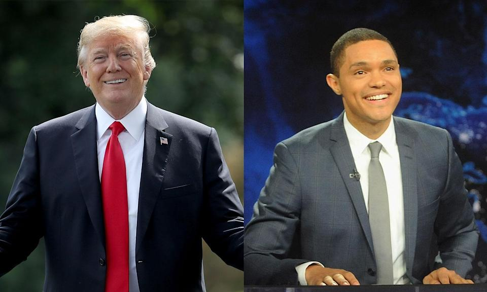 Trevor Noah brought<em> The Daily Show</em> to Miami this week, but made a quick trip to Palm Beach, Fla., for a photo op outside Donald Trump's Mar-a-Lago resort. (Photos: Getty Images)