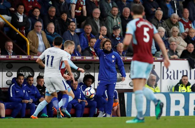 "Soccer Football - Premier League - Burnley vs Chelsea - Turf Moor, Burnley, Britain - April 19, 2018 Chelsea manager Antonio Conte Action Images via Reuters/Andrew Boyers EDITORIAL USE ONLY. No use with unauthorized audio, video, data, fixture lists, club/league logos or ""live"" services. Online in-match use limited to 75 images, no video emulation. No use in betting, games or single club/league/player publications. Please contact your account representative for further details."