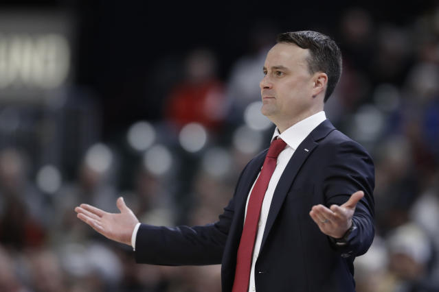 Indiana head coach Archie Miller questions a call during the first half of an NCAA college basketball game against Notre Dame, Saturday, Dec. 21, 2019. (AP Photo/Darron Cummings)