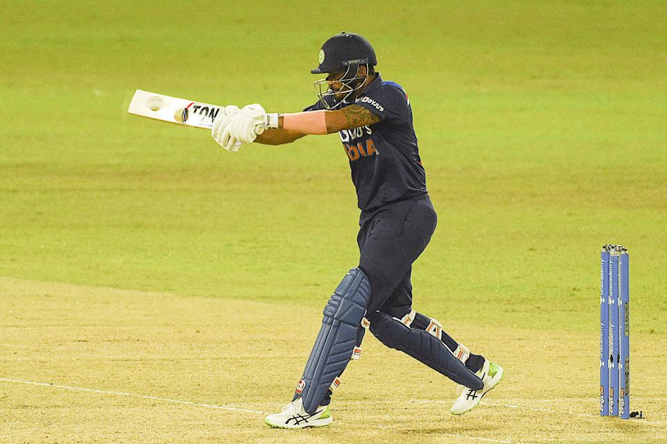 India's Manish Pandey plays a shot during the second one-day international (ODI) cricket match between Sri Lanka and India at the R.Premadasa Stadium in Colombo on July 20, 2021. (Photo by ISHARA S. KODIKARA / AFP) (Photo by ISHARA S. KODIKARA/AFP via Getty Images)