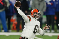 Cleveland Browns quarterback Baker Mayfield (6) throws a pass during the first half of an NFL football game against the New York Giants, Sunday, Dec. 20, 2020, in East Rutherford, N.J. (AP Photo/Seth Wenig)