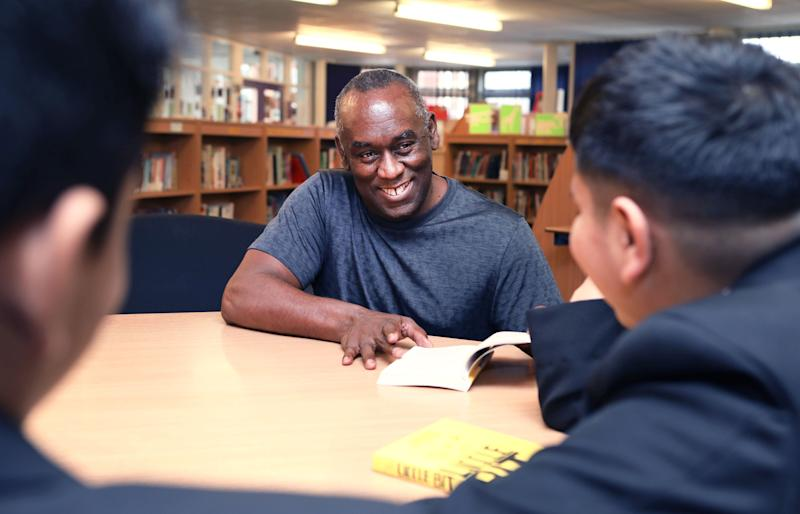 Pupils at Yardleys School in Birmingham meet author Alex Wheatle at a BookTrust event to highlight books by authors and illustrators of colour or those that feature BAME main characters. (Photo: PA Wire/PA Images)