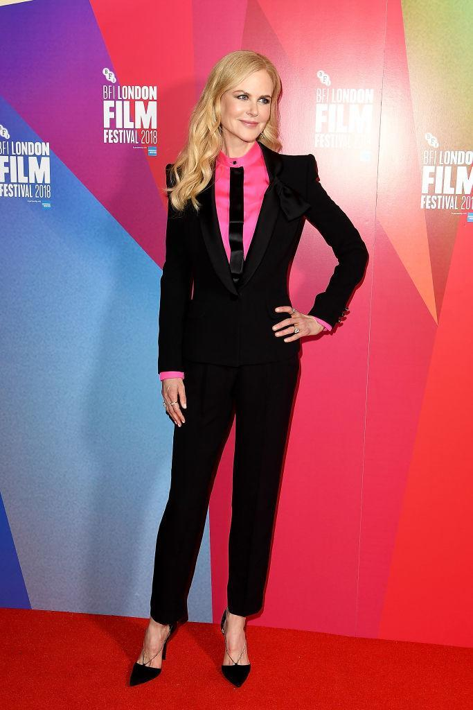<p>On October 14, Nicole Kidman wore a slick Armani Prive suit for the premiere of 'Destroyer' during the BFI London Film Festival. <em>[Photo: Getty]</em> </p>