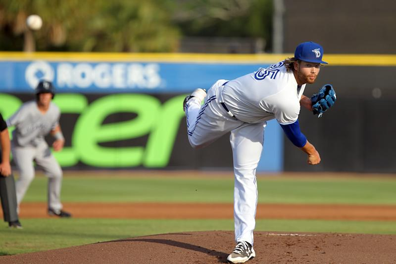 TAMPA, FL - MAY 01: 2016 Blue Jays first round pick T. J. Zeuch of the Blue Jays delivers a pitch to the plate during the Florida State League game between the Tampa Yankees and the Dunedin Blue Jays on May 01, 2017, at Florida Auto Exchange Stadium in Dunedin, FL. (Photo by Cliff Welch/Icon Sportswire via Getty Images)