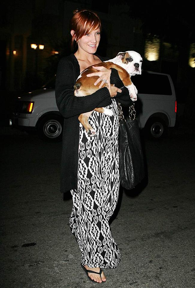 "Mom-to-be Ashlee Simpson practices her parenting skills on husband Pete Wentz's cuddlesome English bulldog. LAX/<a href=""http://www.x17online.com"" target=""new"">X17 Online</a> - July 25, 2008"