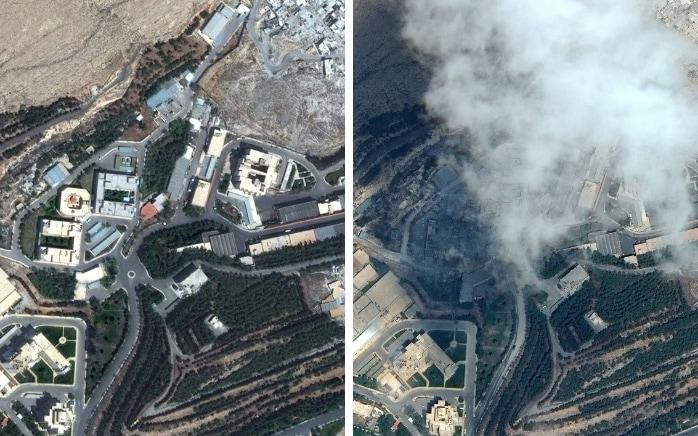 Before and after the missile strike on the Barzeh research centre in Syria - Satellite image ©2018 DigitalGlobe