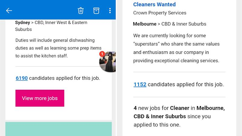 Seeks ads with thousands of applicants for each role.