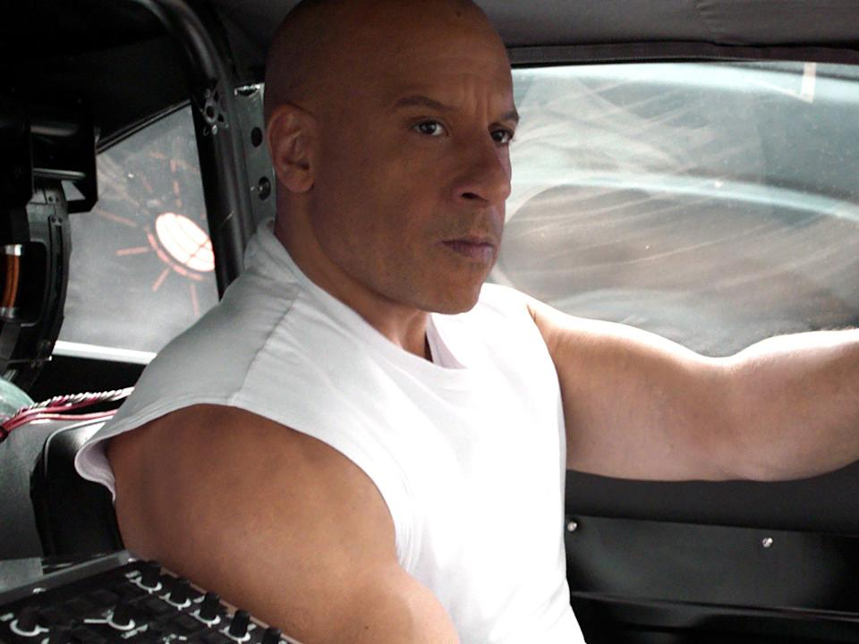 """Vin Diesel driving a car in """"Fast and Furious 9."""""""