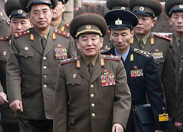 General Kim Yong Chol (C) is widely blamed in the South for the sinking of the corvette Cheonan in 2010 (AFP Photo/JO Yong-hak)
