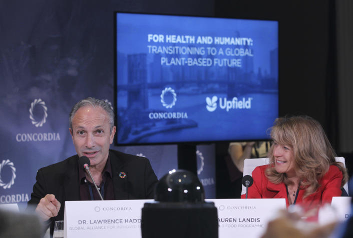 FILE - In this Sept. 23, 2019 file photo, Executive Director of Global Alliance for Improved Nutrition Dr. Lawrence Haddad, left, and Director of Nutrition WFP Lauren Landis attend a Strategic Dialogue at Concordia's Annual Summit, held at Grand Hyatt in New York. A group of 24 scientists, economists, researchers and other winners of the World Food Prize, including Haddad, sent a letter Tuesday, Feb. 23, 2021, to President Joe Biden asking him to focus on alleviating global hunger, poverty and malnutrition. (Photo by Donald Traill/Invision for Upfield/AP Images, File)