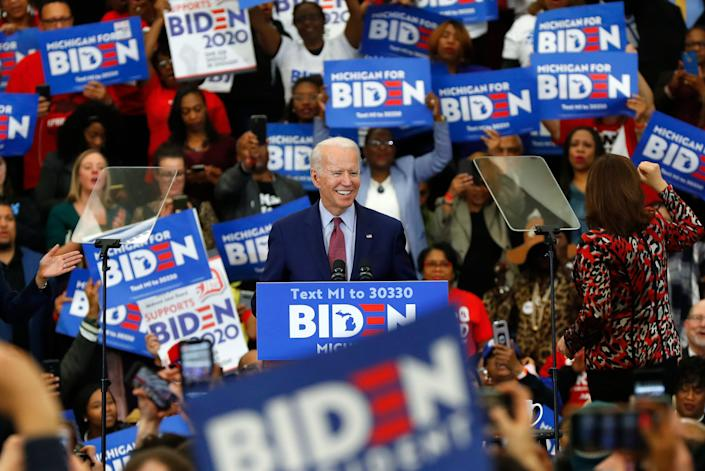Democratic presidential candidate former Vice President Joe Biden speaks during a campaign rally at Renaissance High School in Detroit on March 9, 2020.