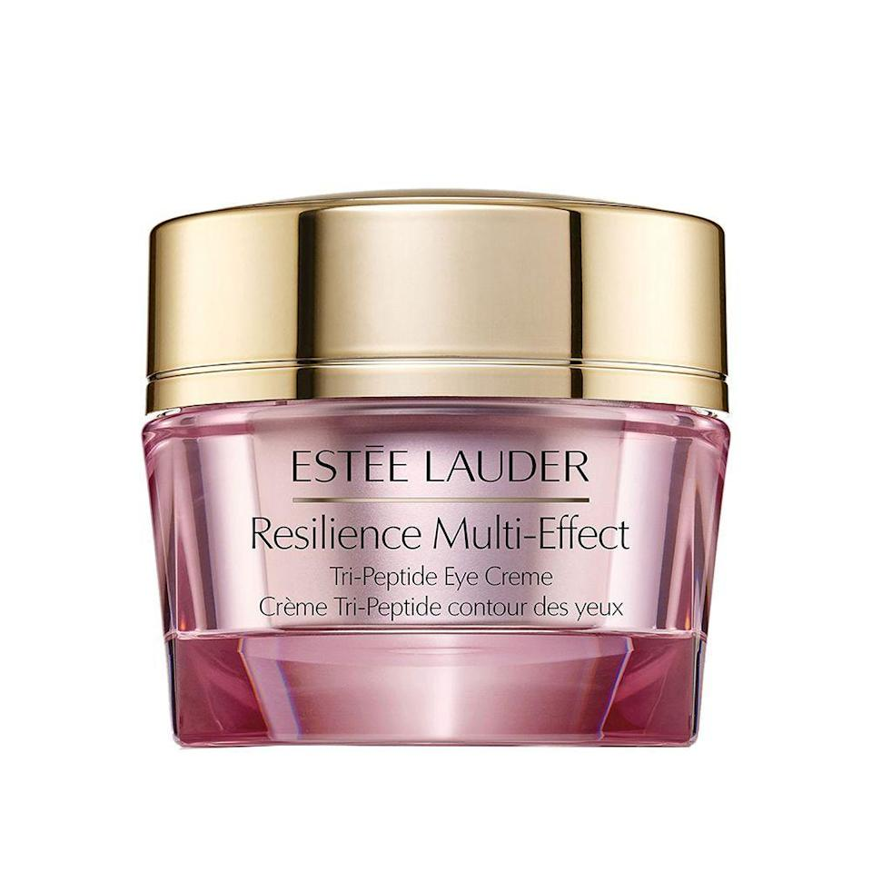 """<p><strong>Estée Lauder </strong></p><p>nordstrom.com</p><p><strong>$59.50</strong></p><p><a href=""""https://go.redirectingat.com?id=74968X1596630&url=https%3A%2F%2Fshop.nordstrom.com%2Fs%2Festee-lauder-resilience-multi-effective-tri-peptide-eye-creme%2F5133085&sref=https%3A%2F%2Fwww.bestproducts.com%2Fbeauty%2Fg341%2Fcollagen-cream-for-youthful-skin%2F"""" rel=""""nofollow noopener"""" target=""""_blank"""" data-ylk=""""slk:Shop Now"""" class=""""link rapid-noclick-resp"""">Shop Now</a></p><p>Your eyes deserve an extra boost of TLC. So, get one step closer to banishing crow's feet and under-eye bags with this fan-favorite eye cream. </p><p>It contains a tri-peptide collagen complex to wake up tired eyes and give the surrounding skin a smoother, more youthful appearance. Plus, it also targets dark circles.</p>"""