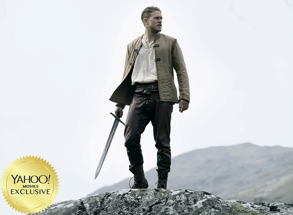 """<p>Travel back to merry old medieval England for the latest retelling of the classic legend, this time with <a rel=""""nofollow"""" href=""""https://www.yahoo.com/movies/tagged/charlie-hunnam"""" data-ylk=""""slk:Charlie Hunnam"""" class=""""link rapid-noclick-resp"""">Charlie Hunnam</a> as the lad who releases Excalibur from its stony prison. With <a rel=""""nofollow"""" href=""""https://www.yahoo.com/movies/tagged/guy-ritchie"""" data-ylk=""""slk:Guy Ritchie"""" class=""""link rapid-noclick-resp"""">Guy Ritchie</a> at the helm, this almost certainly won't be your great-great-great-great-great-great-grandfather's King Arthur. 