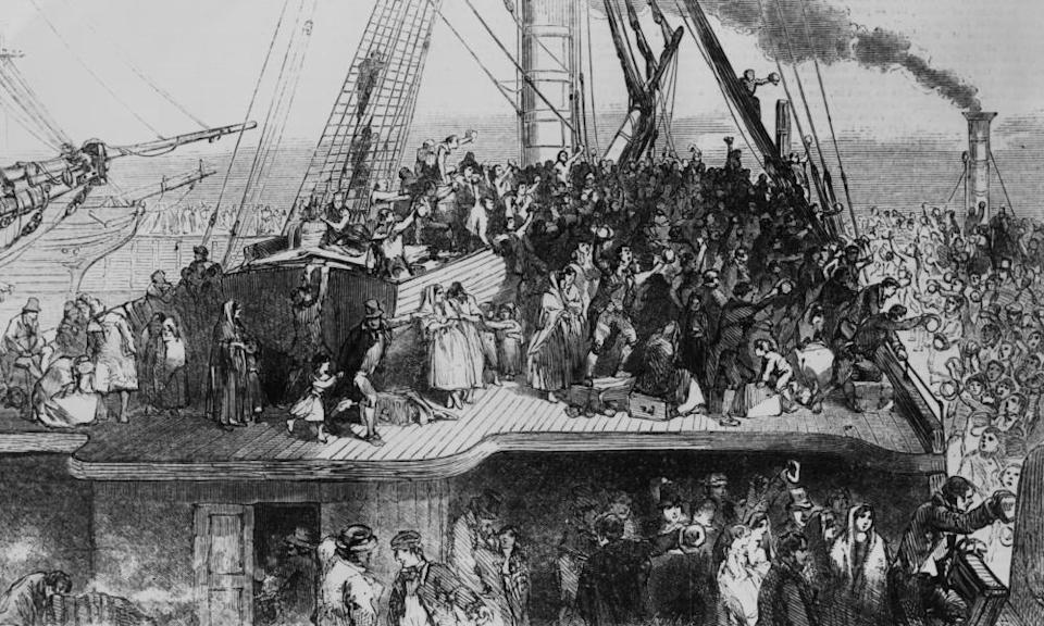 Irish emigrants sail to the US during the Great Famine, 1850.