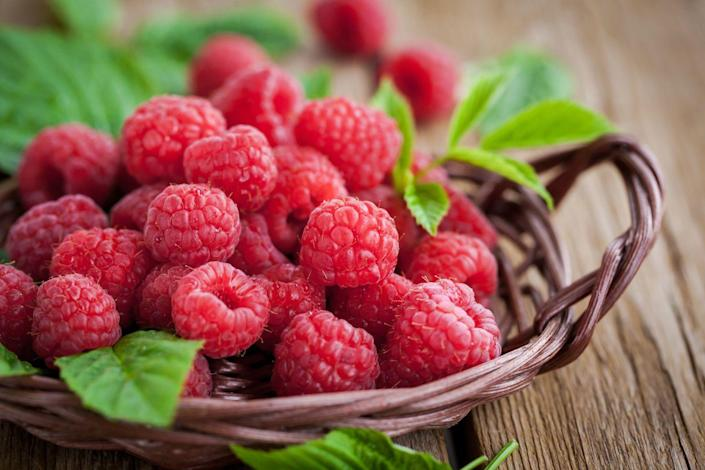 """<p>Just one cup contains nearly half your daily manganese—important for brain and nerve function, as well as bone and joint health. Raspberries are high in fiber, vitamin C, and antioxidants, and low in carbohydrates. Try these other <a href=""""https://www.prevention.com/food-nutrition/healthy-eating/g24663294/low-sugar-fruits/"""" rel=""""nofollow noopener"""" target=""""_blank"""" data-ylk=""""slk:low-sugar fruits"""" class=""""link rapid-noclick-resp"""">low-sugar fruits</a> to curb your sweet tooth. </p>"""