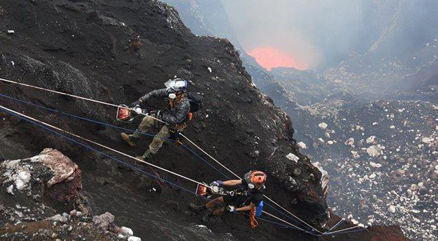 Brad Ambrose and Chris Horsley climbing out of Benbow's lava lake. Photo: Geoff Mackley