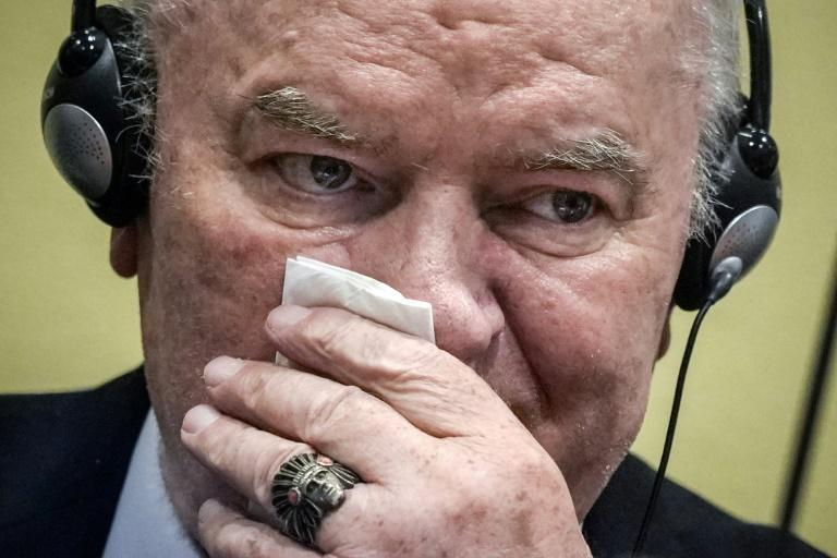 """Dubbed the """"Butcher of Bosnia"""", the once burly general sat impassively and listened to the judgement through headphones"""