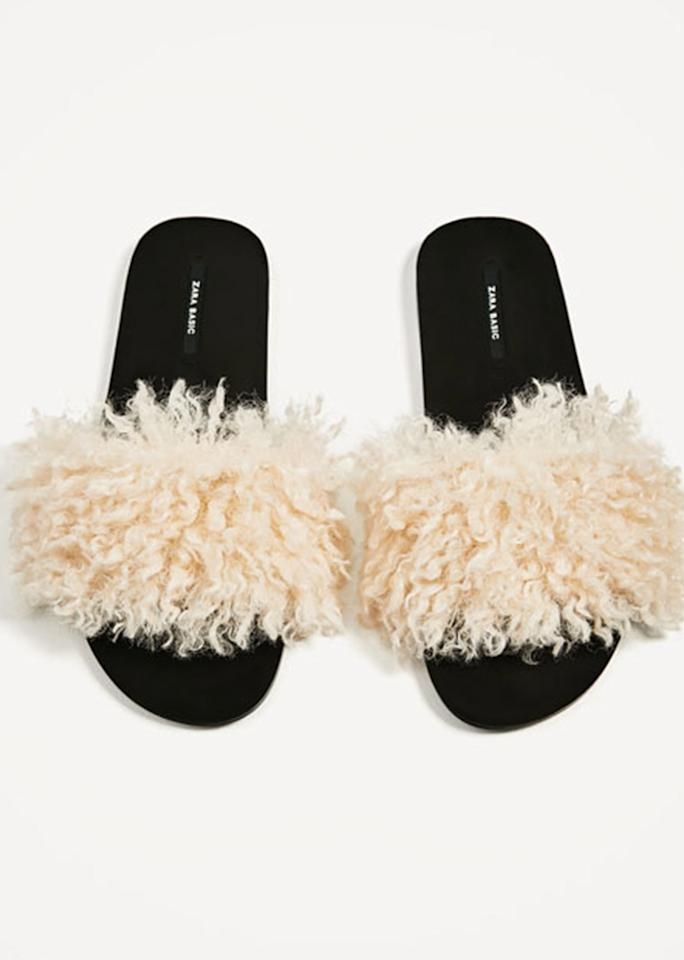 "Zara Faux Fur Slides, $49.90; at <a rel=""nofollow"" href=""http://www.zara.com/us/en/woman/shoes/view-all/faux-fur-slides-c719531p4210009.html"">Zara </a>"