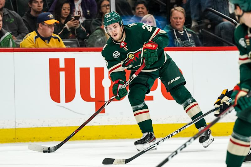 Mar 25, 2019; Saint Paul, MN, USA; Minnesota Wild forward Pontus Aberg (26) looks to pass during the second period against the Minnesota Wild at Xcel Energy Center. Mandatory Credit: Brace Hemmelgarn-USA TODAY Sports