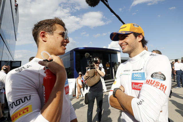 Sainz and McLaren team mate Lando Norris (Credit: Getty Images)
