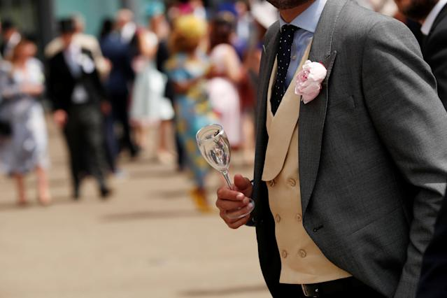 Horse Racing - Royal Ascot - Ascot Racecourse, Ascot, Britain - June 23, 2018 General view of a glass held by a racegoer before the races at Ascot Action Images via Reuters/Andrew Boyers