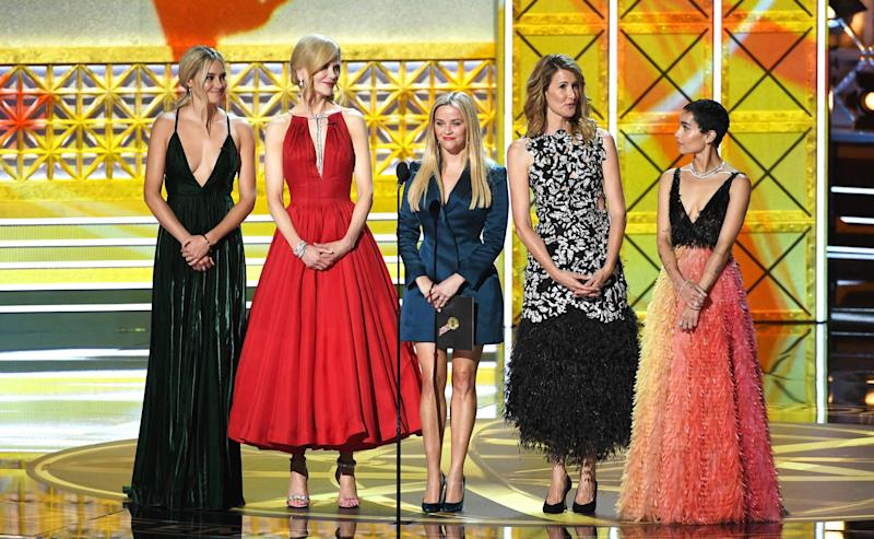 Actors Shailene Woodley, Nicole Kidman, Reese Witherspoon, Laura Dern, and Zoe Kravitz speak onstage during the 69th Annual Primetime Emmy Awards at Microsoft Theater on Sept. 17, 2017 in Los Angeles, California.