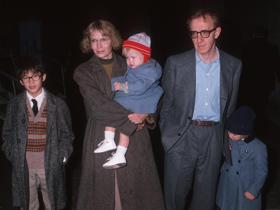 Actor Woody Allen, actress Mia Farrow and children attend The Apple Circus Performance on November 3, 1989 in New York City. (Photo by Ron Galella, Ltd./Ron Galella Collection via Getty Images)