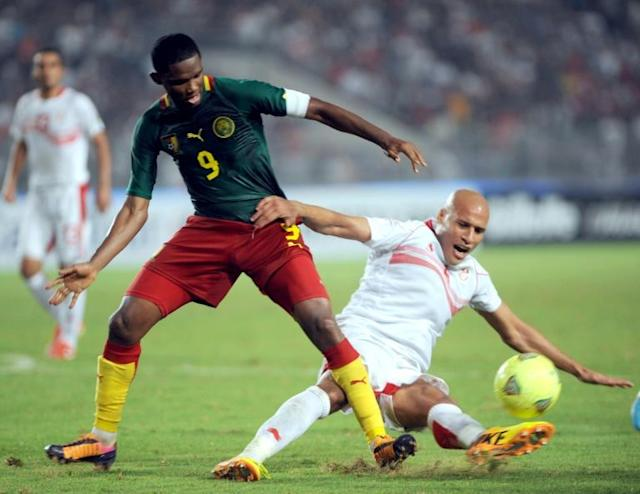 """(Samuel) Eto'o (L) is a very important player in the world and in Turkey. We are happy to see him in Konyaspor,"" Konyaspor president Fatih Yilmaz said"