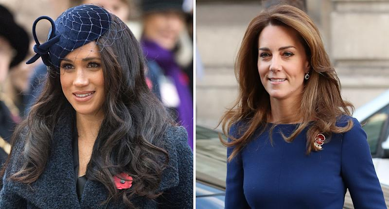 Meghan and Kate both stepped in the same hue, styled two different ways. [Photo: Getty]