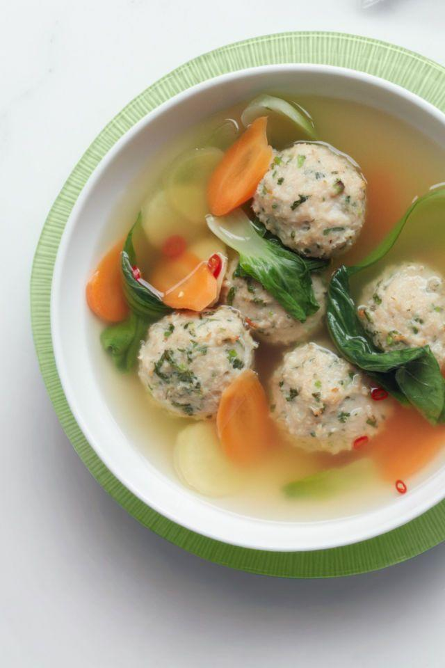 """<p>Don't underestimate this bowl of broth. Fresh ginger adds a kick to the cleansing dish. </p><p><em><a href=""""http://www.womansday.com/food-recipes/food-drinks/recipes/a12325/gingery-meatball-soup-bok-choy-recipe-wdy0314/"""" rel=""""nofollow noopener"""" target=""""_blank"""" data-ylk=""""slk:Get the recipe for Gingery Meatball Soup with Bok Choy »"""" class=""""link rapid-noclick-resp""""><span class=""""redactor-invisible-space"""">Get the recipe for Gingery Meatball Soup with Bok Choy »</span> </a></em><br></p>"""