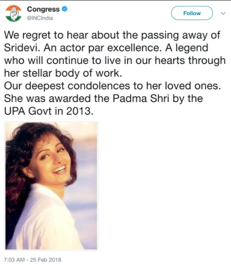 'Our deepest condolences to her loved ones. She was awarded the Padma Shri by the UPA Govt in 2013,' the official Congress Twitter handle tweeted.
