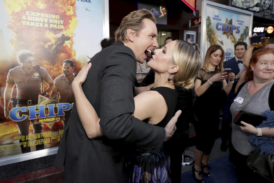 """Director/Writer/Producer/Actor Dax Shepard and Kristen Bell seen at Warner Bros. Pictures Los Angeles Premiere of """"CHIPS"""" at TCL Chinese Theatre on Monday, March 20, 2017, in Los Angeles. (Photo by Eric Charbonneau/Invision for Warner Bros./AP Images)"""