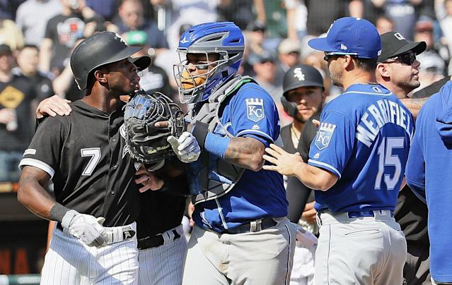 The White Sox's Tim Anderson (L) and Royals catcher Martin Maldonado exchange words during last week's altercation. (Getty Images)
